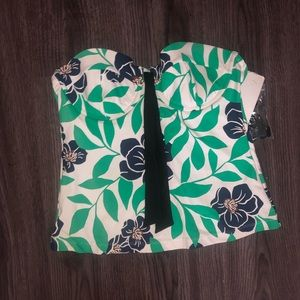 Jag Floral Blue Green Swimming strapless top M
